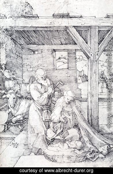 Albrecht Durer - The Nativity: Adoration Of The Christ Child In The Stables with The Virgin And St. Joseph