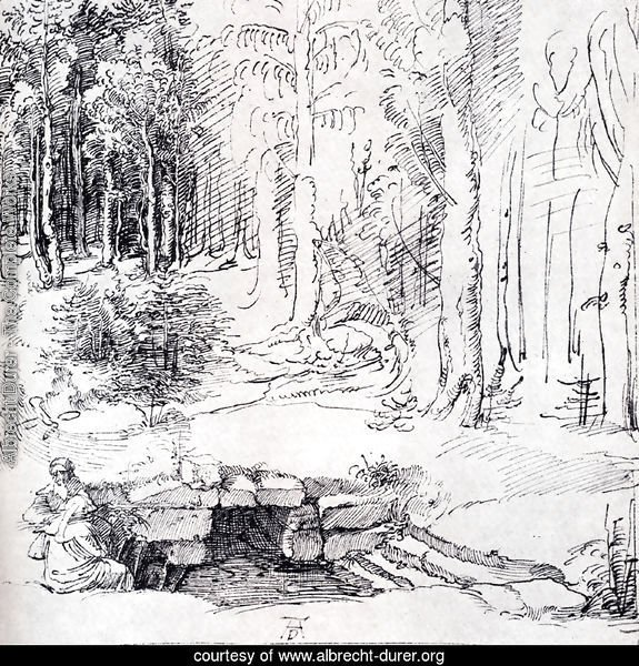 Forest Glade With A Walled Fountain By Which Two Men Are Sitting (or St. Anthony And St. Paul, Identified By The Flying Raven)