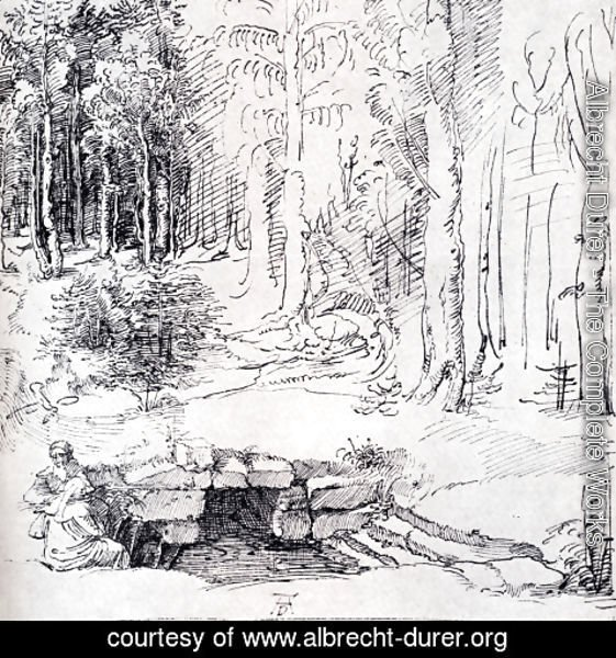 Albrecht Durer - Forest Glade With A Walled Fountain By Which Two Men Are Sitting (or St. Anthony And St. Paul, Identified By The Flying Raven)