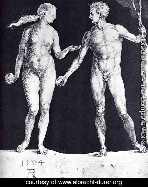 Albrecht Durer - Idealistic Male And Female Figures (or Adam And Eve)