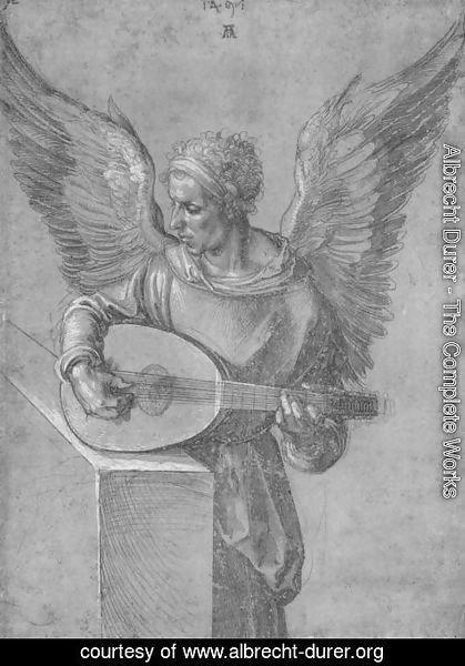 Albrecht Durer - Winged Man, In Idealistic Clothing, Playing a Lute