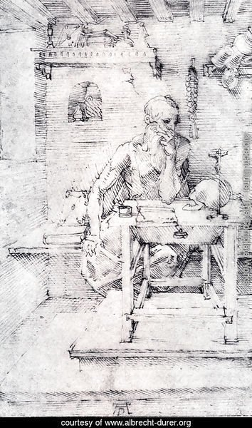 St. Jerome In His Study (Without Cardinal's Robes) (or Contemplating A Skull)