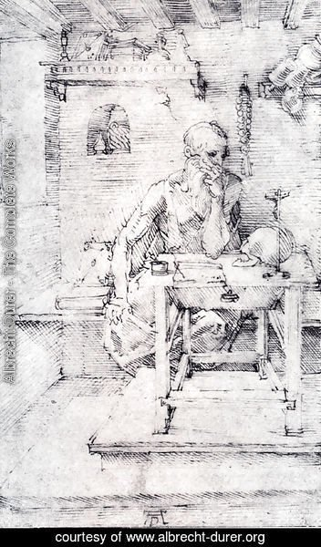 Albrecht Durer - St. Jerome In His Study (Without Cardinal's Robes) (or Contemplating A Skull)