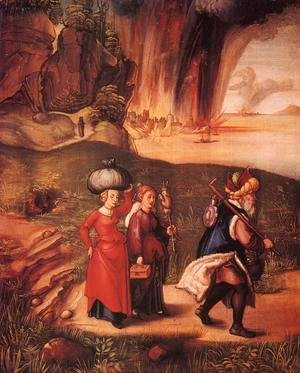 Albrecht Durer - Lot Fleeing with his Daughters from Sodom I