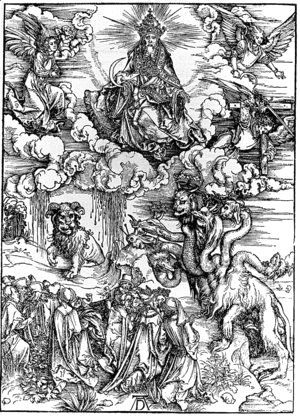 Albrecht Durer - The Seven-Headed Beast and the Beast with Lamb's Horns