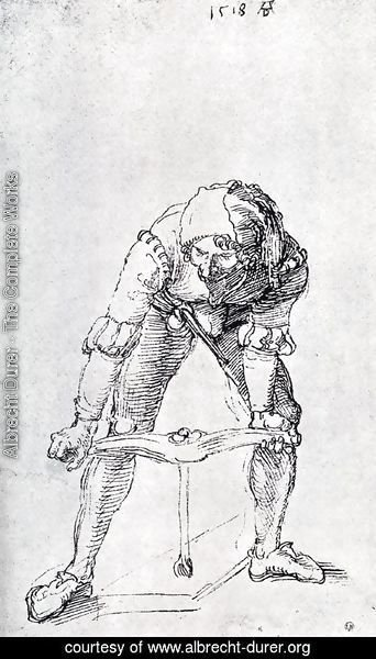 Albrecht Durer - Young Man Leaning Forward And Working With A large Drill