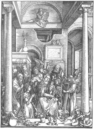 Albrecht Durer - Life of the Virgin, 19. The Virgin Worshipped by Angels and Saints