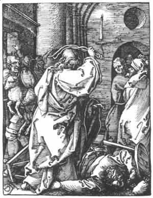 Albrecht Durer - Small Passion, 07. Christ Driving the Merchants from the Temple