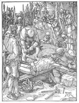 Albrecht Durer - Small Passion, 23. Christ Being Nailed to the Cross