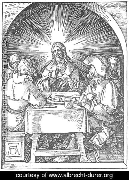 Albrecht Durer - Small Passion, 32. Christ and the Disciples at Emmaus