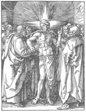 Albrecht Durer - Small Passion, 33. The Incredulity of St Thomas