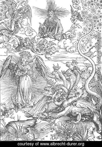 Albrecht Durer - The Revelation of St John, 10. The Woman Clothed with the Sun and the Seven-headed Dragon)