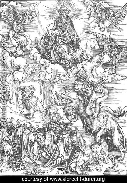 Albrecht Durer - The Revelation of St John, 12. The Sea Monster and the Beast with the Lamb's Horn