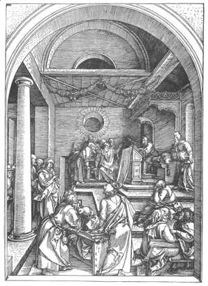 Albrecht Durer - Life of the Virgin 15. Christ among the Doctors in the Temple