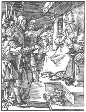 Albrecht Durer - Small Passion 13. Christ before Caiaphas