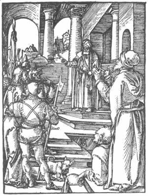 Albrecht Durer - Small Passion 15. Christ before Pilate