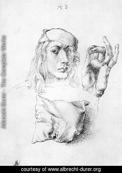 Albrecht Durer - Studies of Self-Portrait, Hand and Pillow