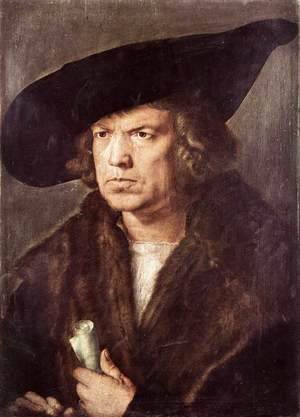 Albrecht Durer - Portrait of a Man with Baret and Scroll 2