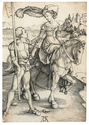 Albrecht Durer - Lady on Horseback and Lansquenet 2