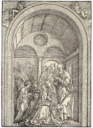 Albrecht Durer - The Holy Family with two Angels in a vaulted Hall
