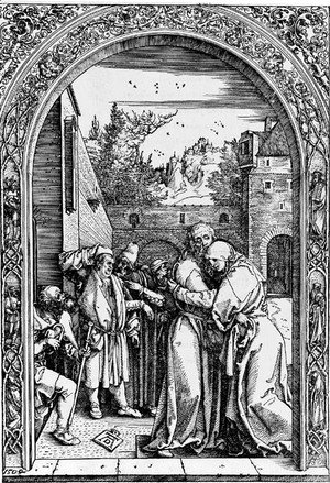 Joachim and St. Anne meet at the golden Gate, from The Life of the Virgin