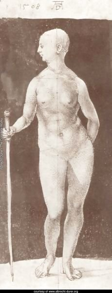 Standing female nude with baton in the right