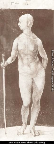 Albrecht Durer - Standing female nude with baton in the right