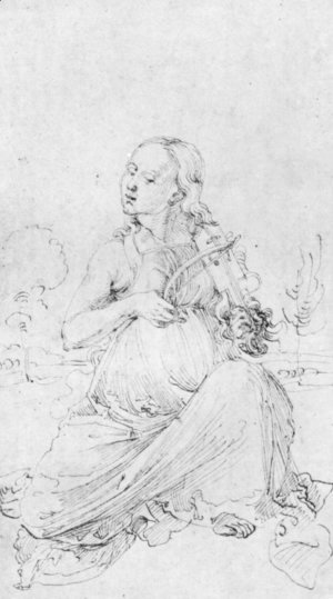 Albrecht Durer - Drawing from the Tarot  The Muse Thalia