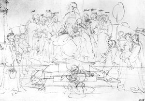 Studies on a great picture of the Virgin   Madonna and Child, saints and angels playing