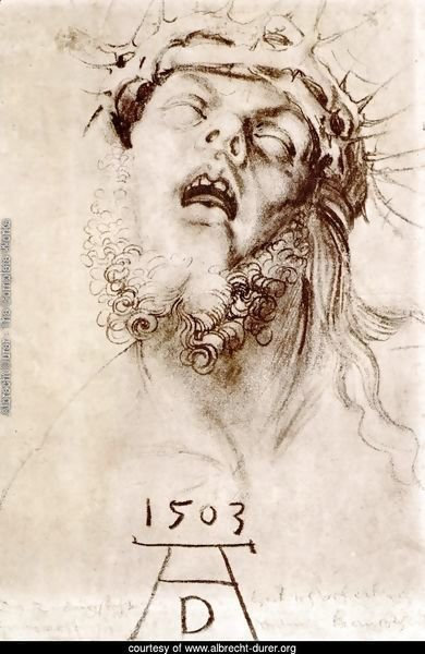 The dead Christ with the crown of thorns