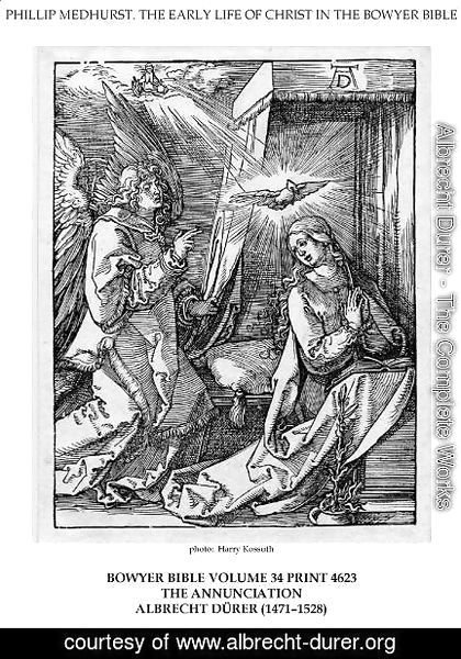 On the left the archangel Gabriel approach the praying Virgin Mary in her bedchamber
