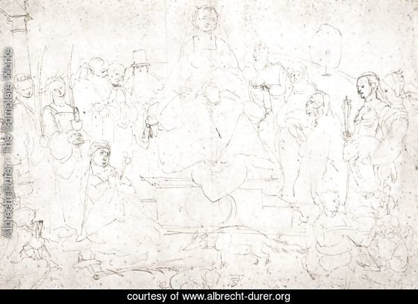 Studies on a great picture of the Virgin   Madonna with child, ten saints and angels