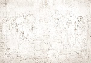 Albrecht Durer - Studies on a great picture of the Virgin   Madonna with child, ten saints and angels