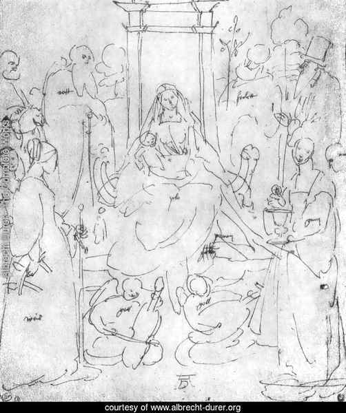 Madonna and Child, saints and angels playing