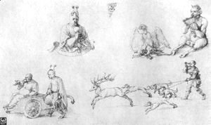 Albrecht Durer - Study sheet with fools, Faun, Phoenix and Deer Hunting