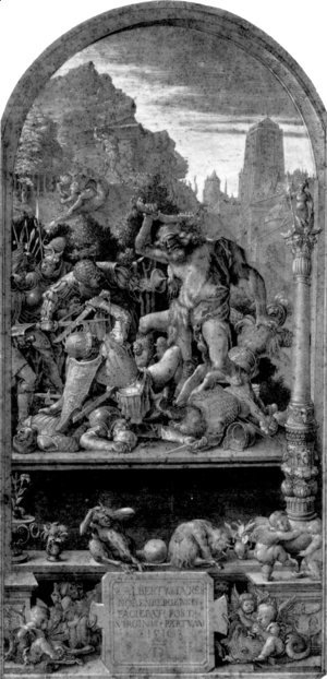 Albrecht Durer - Design for the Fugger Chapel in Augsburg Samson fighting the Philistines