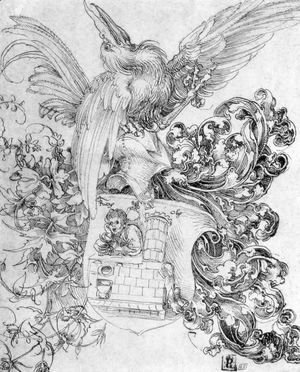 Albrecht Durer - Coat of arms with open man behind