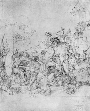Albrecht Durer - Design for the Fugger Chapel in Augsburg Samson fighting the Philistines 2