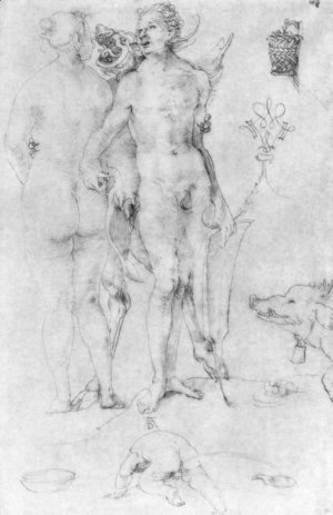 Albrecht Durer - Study Journal, naked couple and the Devil