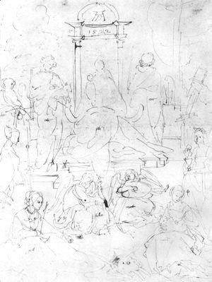 Albrecht Durer - Studies on a great picture of the Virgin   Madonna and Child, saints and angels playing 2