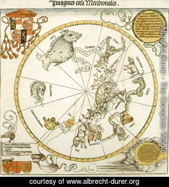 Albrecht Durer - Map of the Southern Sky, with representations of constellations, decorated with the crest of Cardinal Lang von Wellenburg, and a dedication to him with his coats of arms and the Imperial copyright