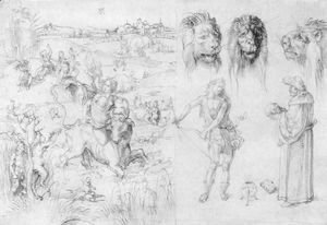 Albrecht Durer - Study sheet with the Rape of Europa