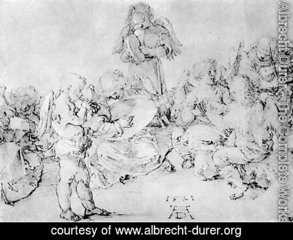 Albrecht Durer - Studies on a great picture of Mary   Angel playing