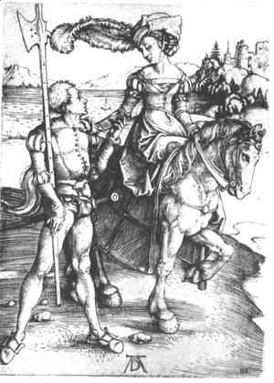 Albrecht Durer - Noble woman at horses and Lansquenet