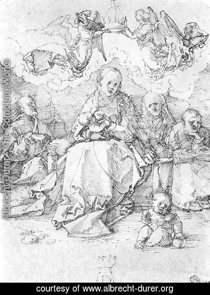 Albrecht Durer - Holy Family, crowned by two angels