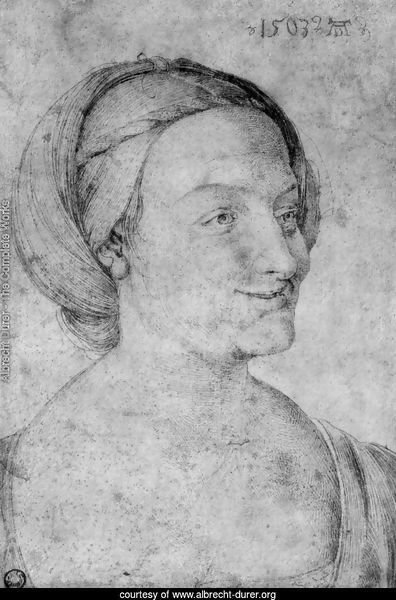 Head of a smiling woman