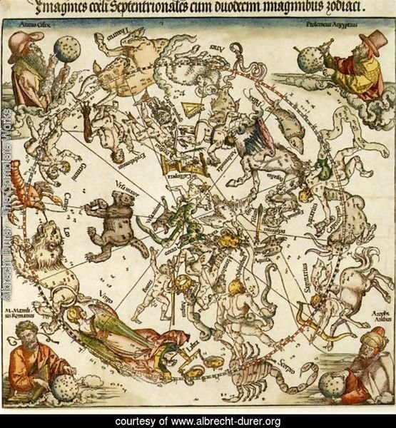 Map of the Northern Sky with representations of the constellations, decorated with (clockwise) the astronomers Aratus Cilix, Ptolemaeus Aegyptus, Azophi Arabus (Addorrhaman al Sufi) and M. Manlius Romanus, designed by the Nuremberg mathematician and