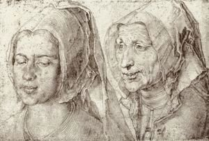 Albrecht Durer - An Young and Old Woman from Bergen op Zoom