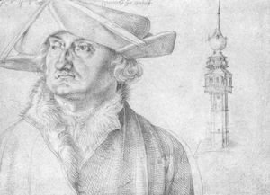Albrecht Durer - Portrait of Lazarus Ravensburger and the turrets of the court of Lier in Antwerp