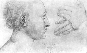 Albrecht Durer - Studies on a great picture of Mary   girl's head and pair of hands